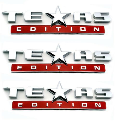 THREE RED AND CHROME TEXAS EDITION EMBLEM DECAL CHEVY SILVERADO  SIERRA TRUCK