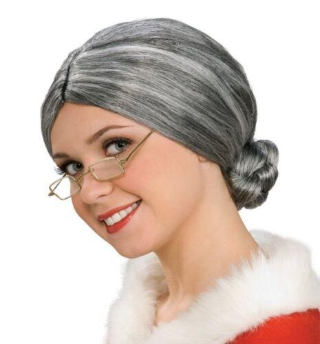 Claus Elderly Gray Grey Bun Hair Santa NEW OLD LADY COSTUME WIG DELUXE Mrs