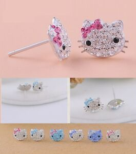 45f79e092 Image is loading 925-Sterling-silver-cute-cat-Hello-Kitty-Cubic-