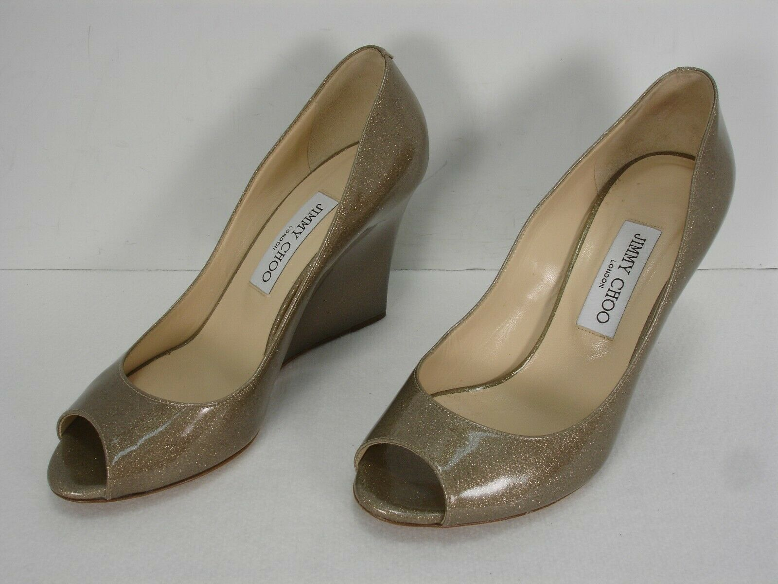 JIMMY CHOO BELLO SHIMMER PATENT LEATHER PEEP TOE WEDGES PUMPS SHOES WOMEN'S 38