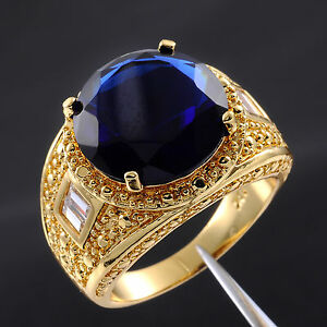 Size 9 10 11 12 13 Valuable Mens Round Sapphire 18k Yellow