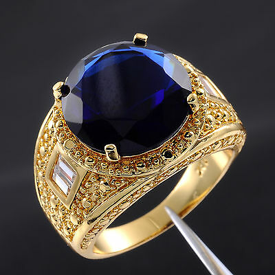 Size 9,10,11,12,13 Valuable Mens Round Sapphire 18K Yellow Gold Filled Gem Ring