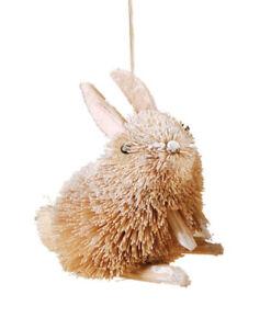 "GALLERIE II 4"" NATURAL BURI BRISTLE RABBIT WOODLAND ANIMAL CHRISTMAS ORNAMENT"