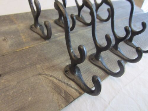 8 COAT HOOKS BLACK HOOK HAT TRIPLE 3 HOOK VINTAGE ANTIQUE LOOK ORNATE HAT TREE