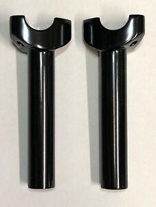 Mid-USA-Satin-Black-6-034-Straight-Handlebar-Risers-Harley-Softail-Dyna-Sportster