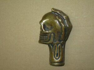 Bronze-Ersatz-Griff-fuer-Gehstock-Spazierstock-Stockgriff-Totenkopf-Skull