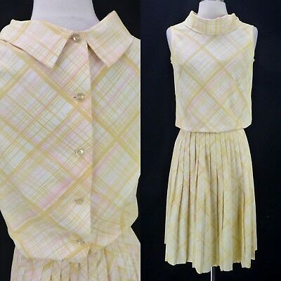 Vintage 60s Yellow Plaid 2-Pc Dress Set Button Back Blouse Pleated Skirt XS