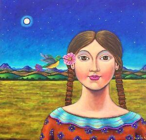 Mexican-Painting-German-Rubio-Folk-art-girl-amp-hummingbird
