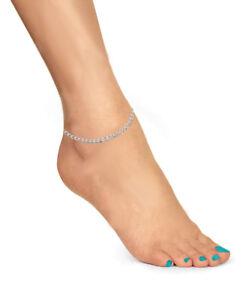 """14k White Gold Curb Chain Anklet Bracelet 10/"""" 2.6mm"""
