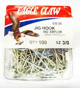 100 Eagle Claw Sea Guard 635 Size 2//0 O/'shaughnessy Jig Mold Fish Hooks 90°