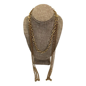 Vintage Wrap Necklace Gold Tone Chain Link Tassel