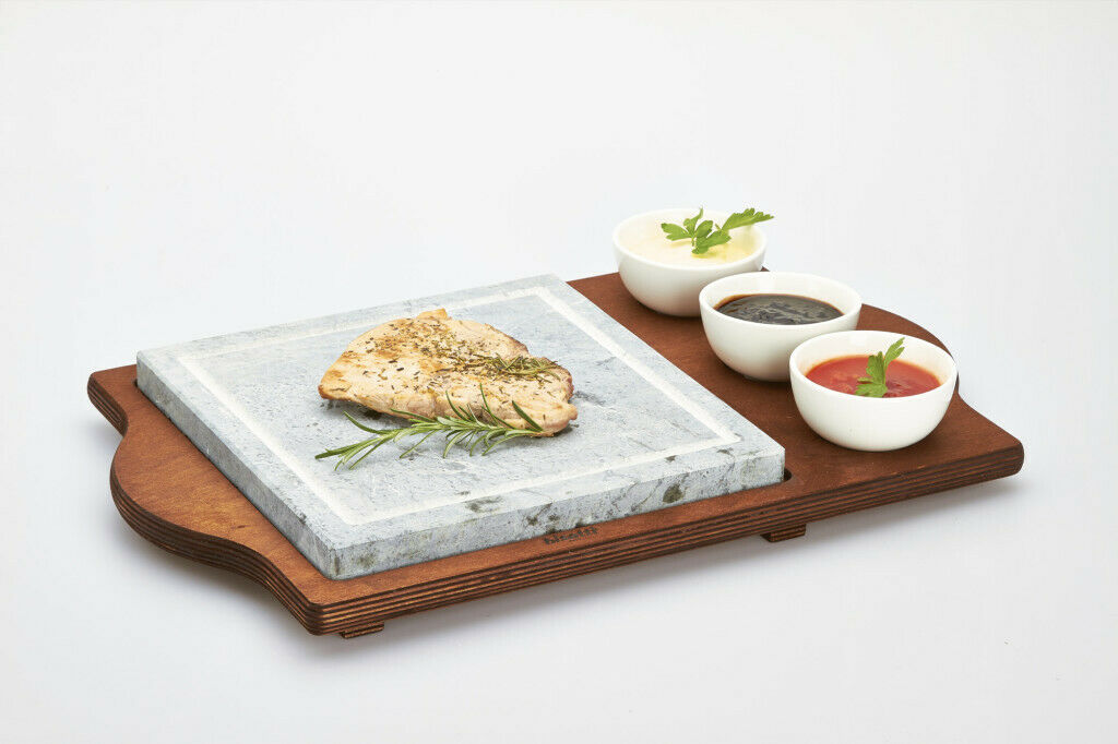 Bisetti Square soapstone  3 bowls wenge base 25 x 25 cm
