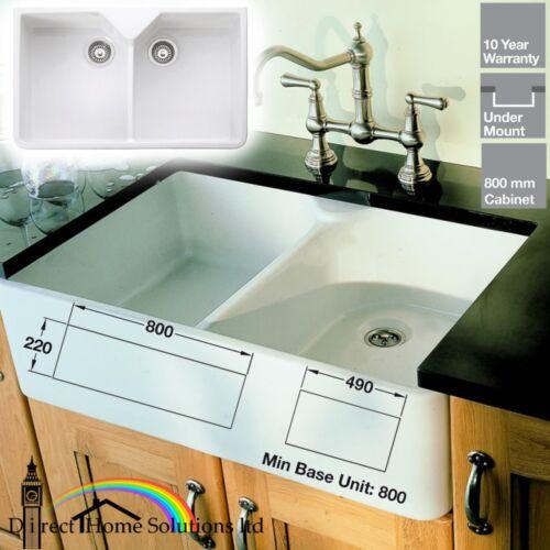 Rangemaster Belfast Double Bowl Ceramic Kitchen Sink /& Waste Kit 24hr DELIVERY