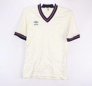 Details Zu Vintage 80er Neu Umbro L England Weltmeisterschaft Gestreift Fussball Trikot Weiss
