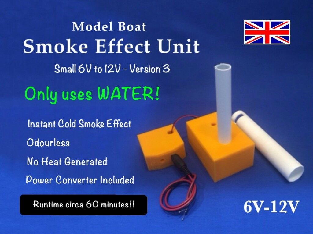 Model Boat Smoke Effect Unit V3 6v to 12v- Uses Water (No Oil   Smoke Fluid)