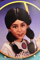 Child Black Native American Indian Wig W/ Rainbow Hair Ties Costume Accessory