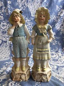 Pair Antique Gebruder Heubach Bisque Figurines German Porcelain Victorian Nouvea