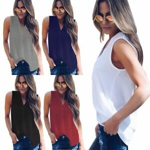 Women-V-Neck-Chiffon-Sleeveless-Vest-Blouse-Casual-Tank-Loose-Summer-Shirts