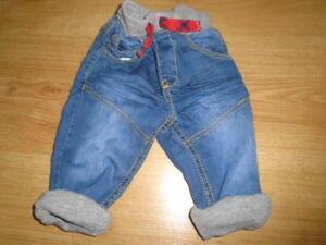 1 Bébé Garçons Denim Jeans Avec Gris Doublure, Muscade, 3-6 Mois-afficher Le Titre D'origine Paquet éLéGant Et Robuste