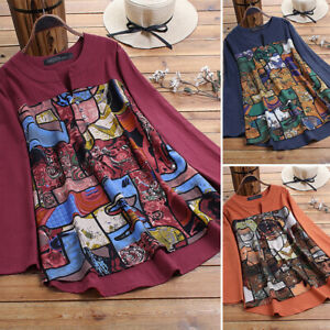 Women-Buttons-V-Neck-Casual-Floral-Print-Long-Shirt-Tops-Oversize-Ethnic-Blouse