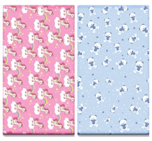 140 x 70 cm Teddy Unicorn 2x Printed Cot Bed Fitted Sheets 100/% Cotton Jersey