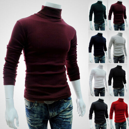Winter Men Knitted Polo Roll Turtle Neck Pullover Jumper Knitwear Cotton Sweater