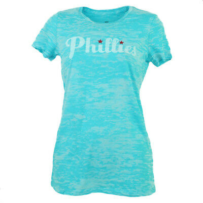Fanartikel Mlb Philadelphia Phillies Damen T-shirt Blau Damen Kurzärmelig Fabriken Und Minen