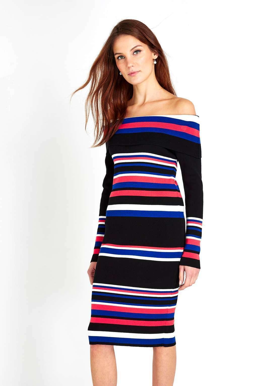 Wallis Multi colore Stripe Off spalla vestito lungo L 14