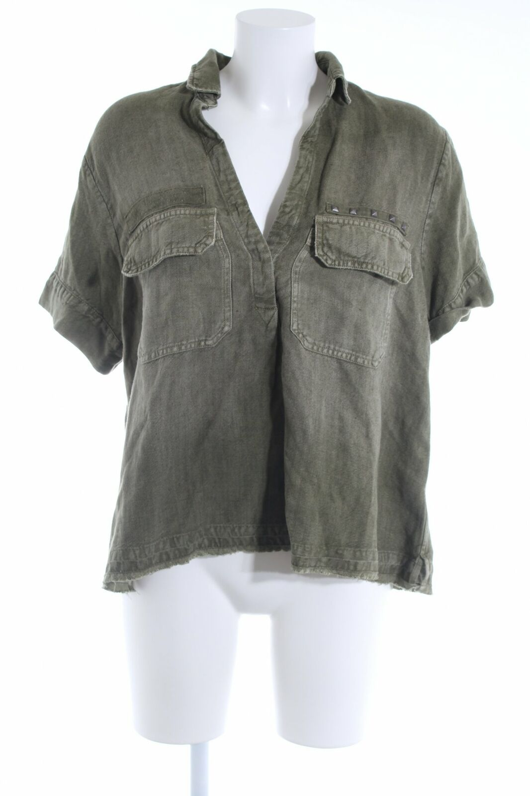 ADRIANO GoldSCHMIED Kurzarm-Blause olivgrün Casual-Look Damen Gr. DE 36 Blouse