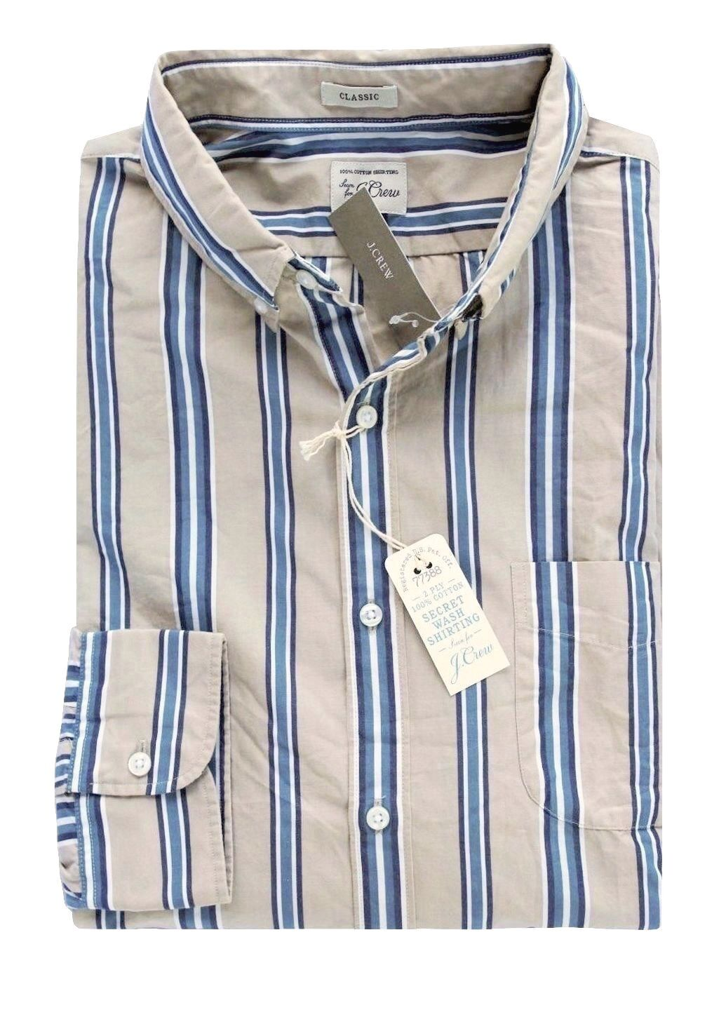 J Crew - Men's XL - Classic Fit - NWT - Khaki bluee Striped Secret Wash Shirt