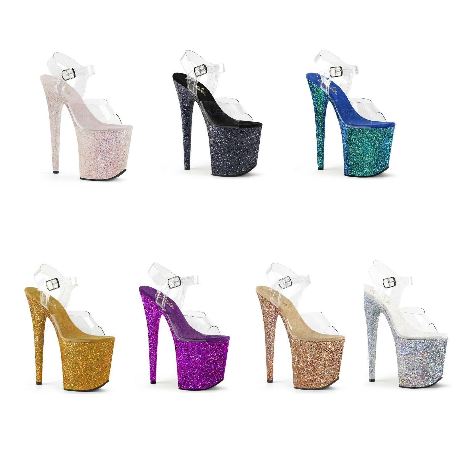 Pleaser FLAMINGO-808LG FLAMINGO-808LG FLAMINGO-808LG Platform Ankle Strap Sandal Holographic Glitters e1cafc