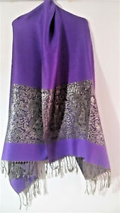 LARGE-PURPLE-GOLD-PASHMINA-SCARF-SHAWL-WRAP-WITH-BOLD-PAISLEY-PATTERN-amp-TASSELS