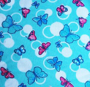 Stoff Flanell 100%Bio-Baumwo<wbr/>lle 90cm Bettwäsche Pyjamas Schmetterlinge Blau Rosa