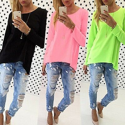 Sexy Women Ladies Casual Solid Pullover Long Sleeve Loose Tops T-Shirt Blouse