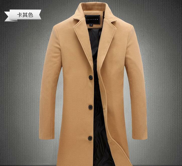 Men Lapel Collar Slim Fit Woolen Formal Casual Long Trench Coat Overcoat Size A8