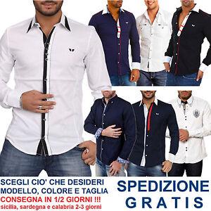 Camicia-Elegante-Moda-Uomo-a-Manica-Lunga-da-Cerimonia-Avvitata-in-Cotone-NUOVA