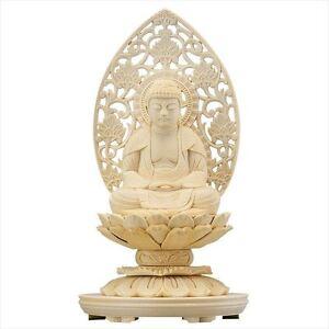 Giapponese-Buddha-statue-Legno-sculture-Shaka-nyorai-ROUND-STAND-tipo