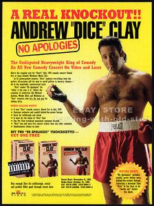 ANDREW-DICE-CLAY-No-Apologies-Original-1993-Trade-print-AD-promo-stand-up