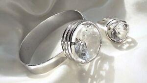 5cb058da0f9f Das Bild wird geladen Antikset-835er-Silber-Ring-und-Armreif -mit-Bergkristall
