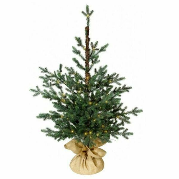 Potted Christmas Trees For Sale: 3ft Prelit Slim Artificial Christmas Tree Potted Balsam
