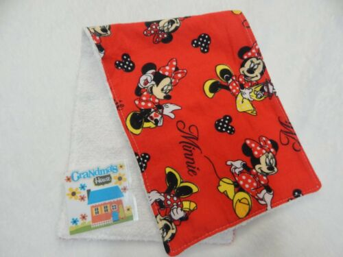 Burp Cloth Minnie Mouse Red  ONE ONLY Toweling Backed GREAT GIFT IDEA!!