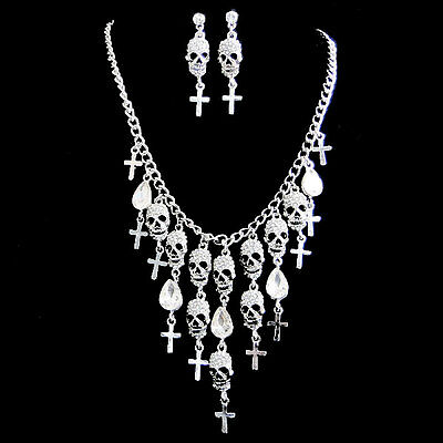 Halloween Skull Bone Cross Drop Necklace Earrings Set Clear Austrian Crystal
