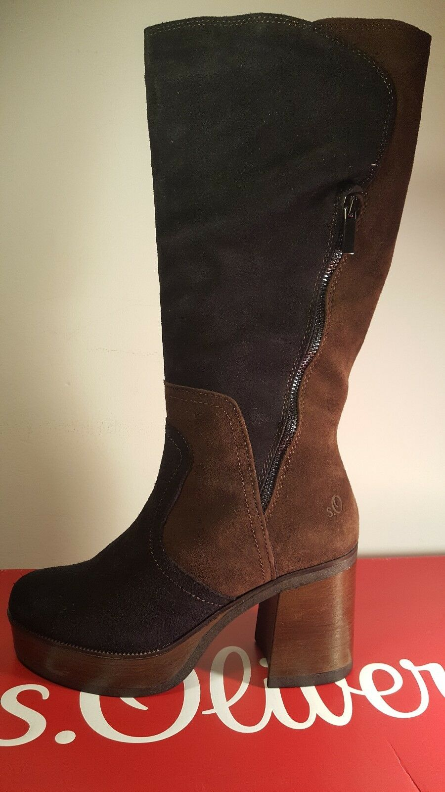S Oliver brown suede calf length boots 5