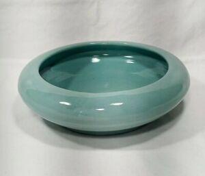 Vintage Royal Haeger Pottery, Shallow Disc Planter / Vase - Aqua (Blue-Green)