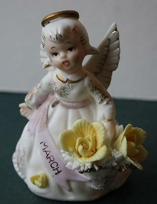 Vintage LEFTON March Birthday Angel Girl Figure With Yellow Flowers-Gold Trim