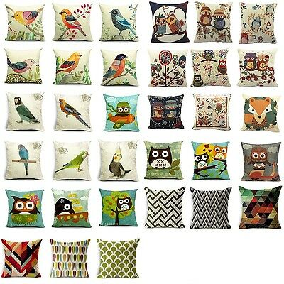 Vintage Style Cotton Linen Pillow Case Sofa Waist Throw Cushion Cover Home Decor