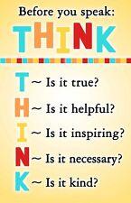"Think Before You Speak Classroom Motivational Silk Cloth Poster 20x13"" Decor 05"
