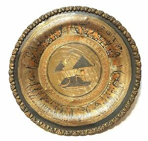 copper and pewter Brass Vintage 11 cm plates  dishes  trays sphinx and pyramids Egyptian design set of two  pair