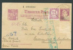SPAIN TO NETHERLANDS Postal Stationery Censor Edifil 67 - 1938