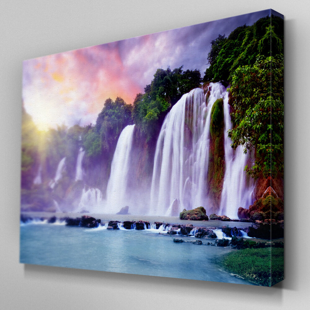 C277 Sunrise Tropical Waterfall Canvas Art Ready to Hang Picture Print